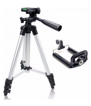 3110 Aluminium Adjustable Portable and Foldable Tripod Stand Mobile Clip with Nylon Carry Bag
