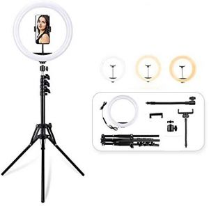 12″ Ring Light with 70″ Tripod Stand with Remote & Phone Holder Kit