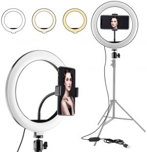 10-Inch Big Ring Light with 70 Inch Height Light Stand With Mobile holder