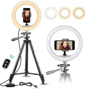 10″ Selfie Ring Light with 60″ Extendable Tripod Stand & Flexible Phone Holder