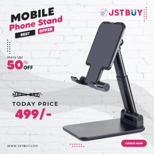 Adjustable Mobile Phone & Tablet Stand, Foldable Portable Desktop Table Mobile Stand Holder (Black)