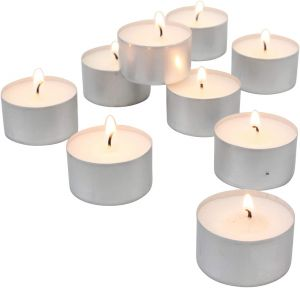 9 Hours Burning Unscented White Tealight Candles For Diwali (Pack of 50)