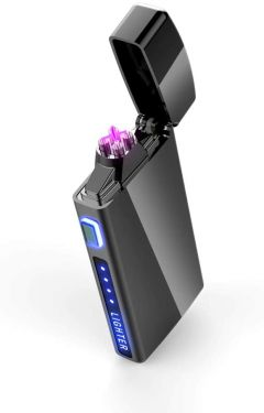 Electric Lighter, USB Rechargeable Double Arc Flameless Windproof Plasma Lighter Cool Stylish Lighter for Smoking, Men, Gift & Cigarette, Cigar