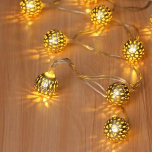 Metal Ball Lights, Waterproof, 16 LEDs 16 FT Star Fairy String Lights for Home, Diwali, Party, Christmas, Wedding, Garden Decoration (Warm White)