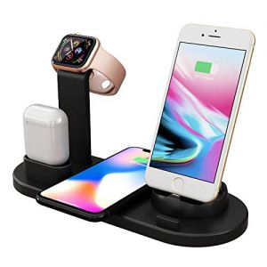 5 in 1 Fast 10w Wireless Charging Station Phone Organizer Stand (Included Charging Adapter 2.4A Dual Port)