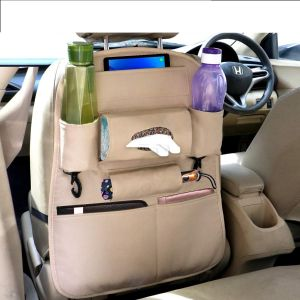 PU Leather Car Seat Back Organizer with Tablet, Water Bottle, Umbrella, Tissue Box, Document & Key Holder SUV Universal Storage Bag (Beige)