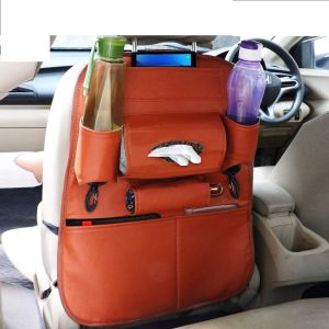 PU Leather Car Seat Back Organizer with Tablet, Water Bottle, Umbrella, Tissue Box, Document & Key Holder SUV Universal Storage Bag (TAN COLOR)