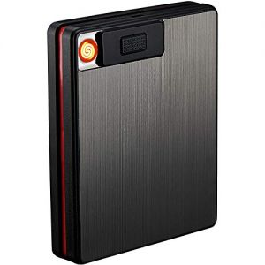 Electric Cigarette Case with Lighter, 2 in 1 USB Rechargeable Flameless Windproof Electric Lighter with Case for Men, Smoking, Gift & Cigar