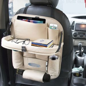 Car Backseat Organizer with Tablet Holder 9 Storage Pockets PU Leather Car Storage Organizer with Foldable Table Tray (Beige)
