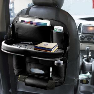 Car Backseat Organizer with Tablet Holder 9 Storage Pockets PU Leather Car Storage Organizer with Foldable Table Tray (Black)
