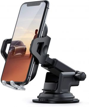 Dashboard Expandable & Rotatable Mobile Stand Holder Mount for Car with Long Arm Strong Sticky Gel & One Touch Technology for Windshield, Table Desk (Black)