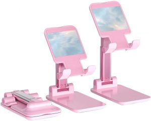 Adjustable Mobile Phone & Tablet Stand, Foldable Portable Desktop Table Mobile Stand Holder (Pink)