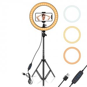 Big Selfie Ring Light with Tripod Stand for Live Stream YouTube Tik-Tok & Instagram Reels-LED Ring Light with Phone Holder