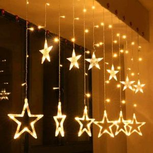 Star Light Curtain Decorations (12 Star,138 LED,8 Flashing Modes in Warm White Color)