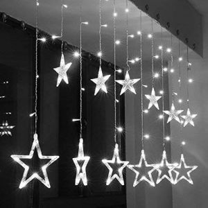 Curtain Star LED Light , String Light with 138 LED Hanging Cool White Stars For All Occasion (6x6)