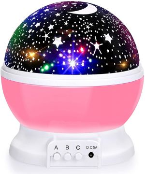 Moon Star Projector 360 Degree Rotation - 4 LED Bulbs 8 Color Changing Light,  Unique Gifts for Diwali Birthday Children Kids Baby (Multicolor)