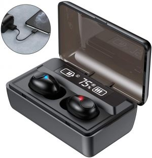 TWS Stereo Bluetooth Earbuds True Wireless Sports Headphone With 2000mAh Power Bank – Black