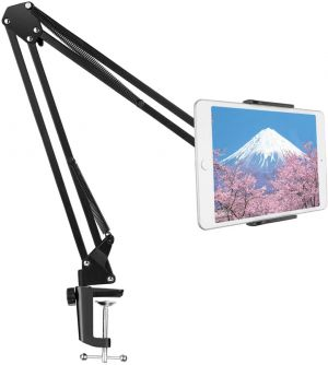 Heavy Duty Phone and Tablet Metal Holder, Universal Flexible 360° Rotation Gooseneck Lazy Bracket Tablet Mobile Stand for Bed, Home, Kitchen & Office