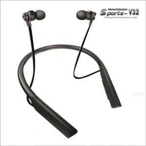 V32 Flex Wireless Bluetooth Neckband (Black & Silver)