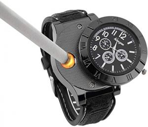 Men USB Rechargeable Cigarette Cigar Lighter Watch Cool Lighters Windproof Unique Designer Wristwatches Flameless (Black)
