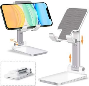 Adjustable Mobile Phone & Tablet Stand, Foldable Portable Desktop Table Mobile Stand Holder (White)